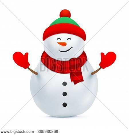 Snowman Vector Illustration. Snow Man With A Beanie Hat And Red Gloves Isolated On A White Backgroun