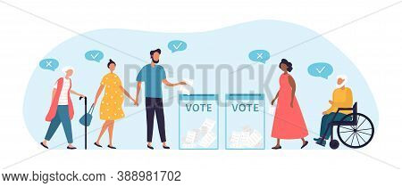 Voting Or Election Concept, Multiracial People Of Different Ages Including Disabled People Came To T