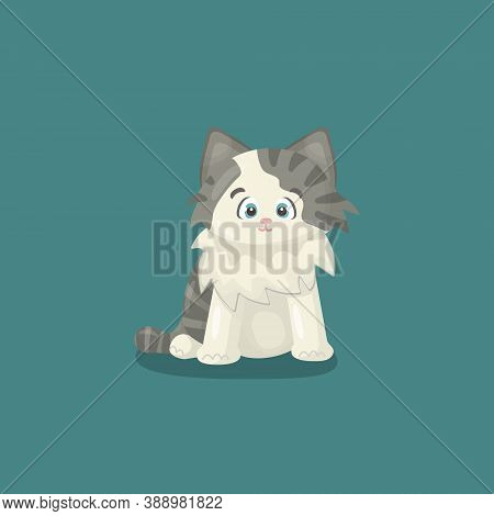 Small White Happy Friendly Isolated Vector Handdrawing Cartoon Character Cat Or Kitten On Blue Or Gr