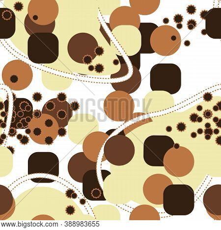 Abstract Brown Seamless Pattern With Yellow, White, Limon, Black, Dark Brown Colors, Lines, Dots, Fi
