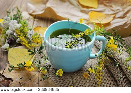 healthy herbal tea, home remedy. beverage for cold flu treament, alternative medicine. natural immunity booster. Beverage for raising immunity concept.
