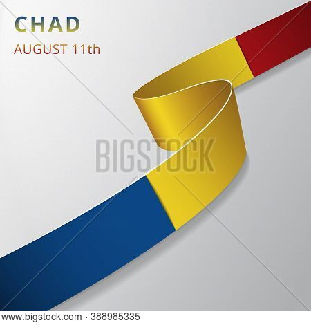 Flag Of Chad. 11th Of August. Vector Illustration. Wavy Ribbon On Gray Background. Independence Day.