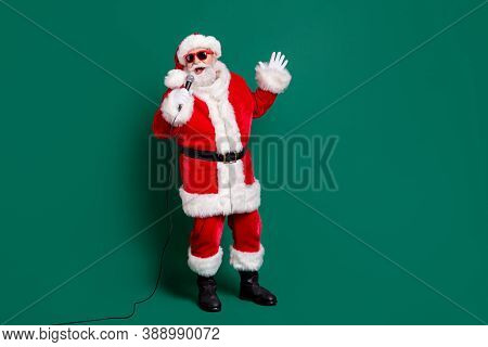 Full Length Body Size View Of His He Nice Attractive Handsome Cheerful Cheery Santa Soloist Singing