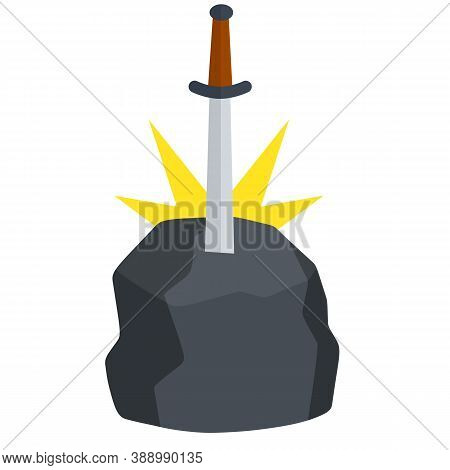 Legendary Excalibur. Knight And King Arthur Test Element. Medieval Weapons And Rock. Cartoon Flat Il