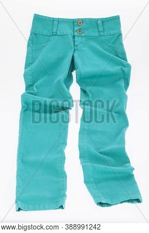 Color Pant Green For Women; Photo On White Background.