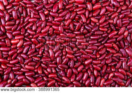 Red Beans Background. Red Beans Seed. Pile Of Red Bean Shot From Above.
