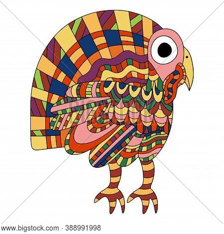 Little Colorful Turkey Bird White Isolated Stock Vector Illustration. Ornamental Thankgiving Day Dom