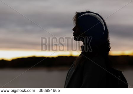 Beautiful Woman Profile Silhouette Portrait With Crescent Moon In Her Head