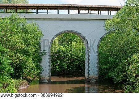 Moscow, Russia - June 9, 2020: Waterworks Aqueduct In The Yauza River Valley In Moscow. Historical A