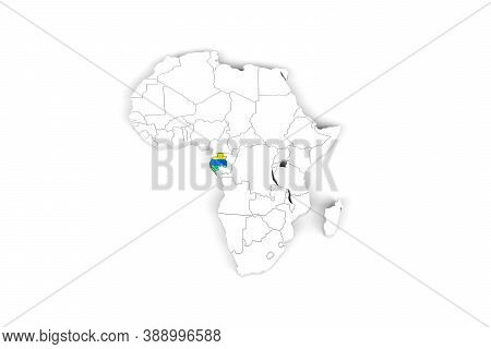 Africa 3d Map With Borders Marked - Gabon Area Marked With Gabon Flag - Isolated On White Background