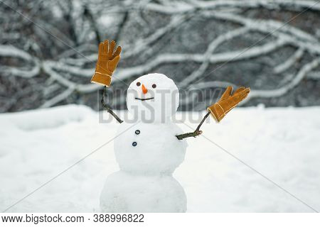 Happy Winter Time. Snowman The Friend Is Standing In Winter Hat And Scarf With Red Nose. Happy Funny