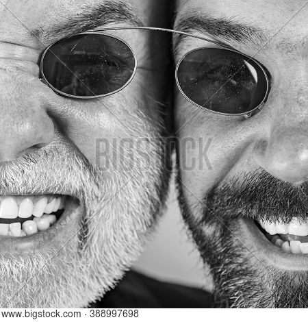 Old Father And Son. Fathers Day. Crazy Emotions Close Up. Comical Dad And Son. Funny Expression Peop