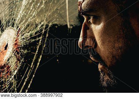 Sad And Stress Man. Hipster. Mans Fashions, Stylish Male Model. Closeup Man Portrait. Man Face