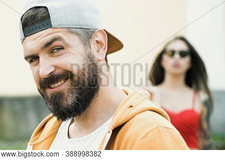 Cool Hipster. Brutal Man With Long Beard And Mustache. Hipster Street Fashion. Attractive Guy In Fro