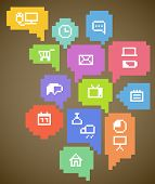 Abstract speech clouds and media icons poster