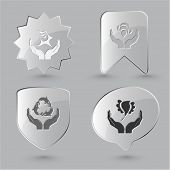 Animal icon set. Protection nature, deer in hands, bird in hands, bee in hands.  Glass buttons. poster