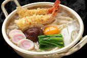 steaming nabeyaki udon, japanese hot pot noodles poster