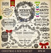 Christmas decoration collection | Set of calligraphic and typographic elements, frames, vintage labels. Ribbons, stickers, ribbon bows set and fur-tree branches - all for Xmas and New Year design. poster