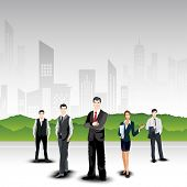 Business persons on abstract urban city background. EPS 10. poster