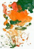 Abstract green and orange background from watercolor poster