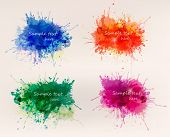 Collection of colorful abstract watercolor backgrounds. Vector poster