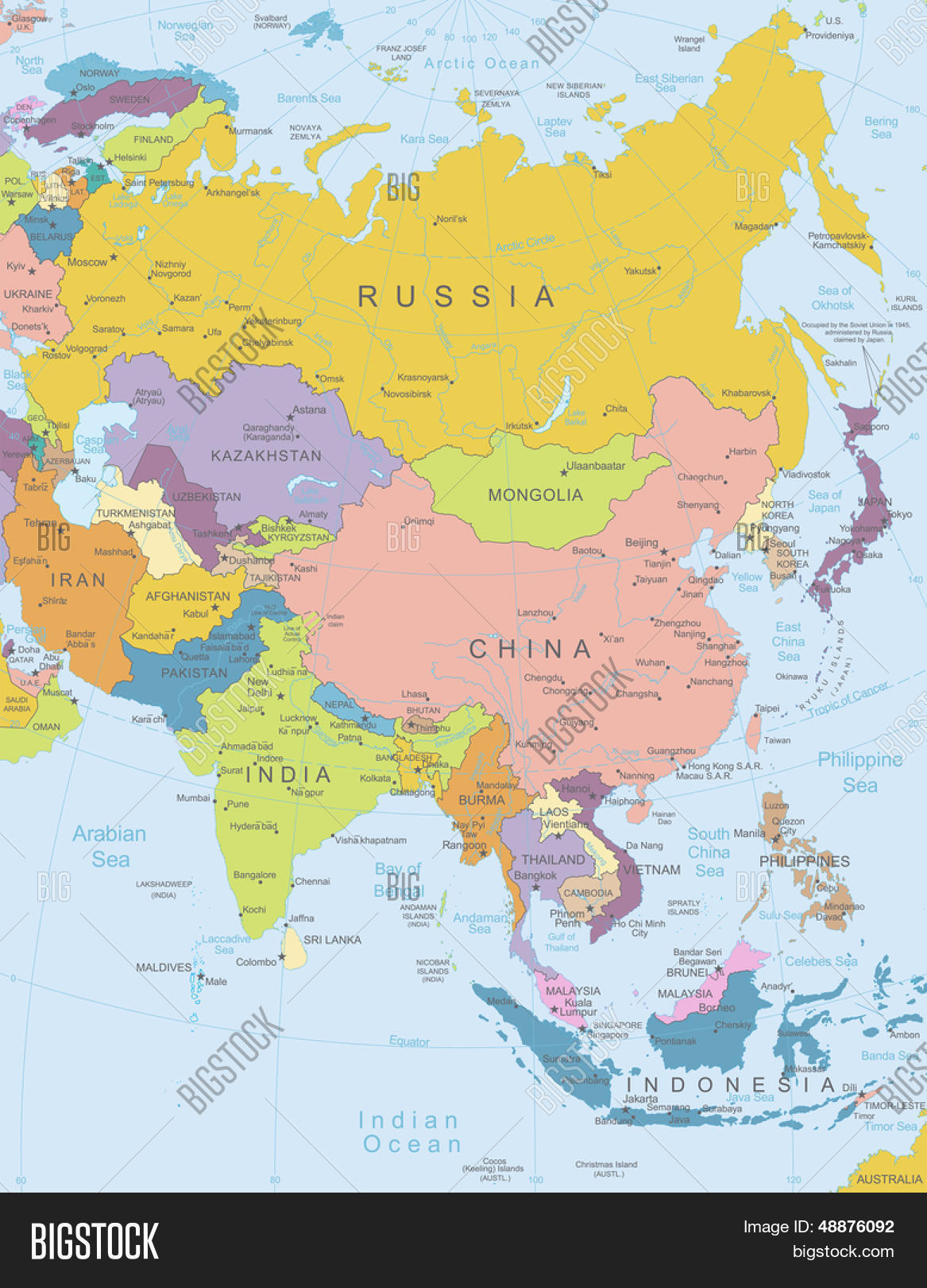 Asia -highly Detailed Vector & Photo (Free Trial) | Bigstock