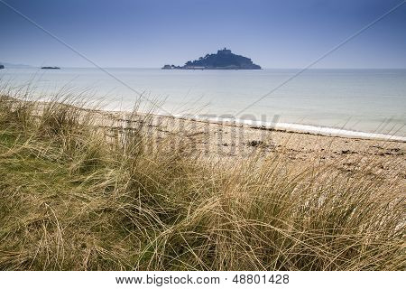 St Michael's Mount Bay Marazion landscape viewed through sand dunes
