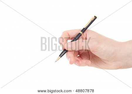 Caucasian Hand With Black And Golden Coloured Pen