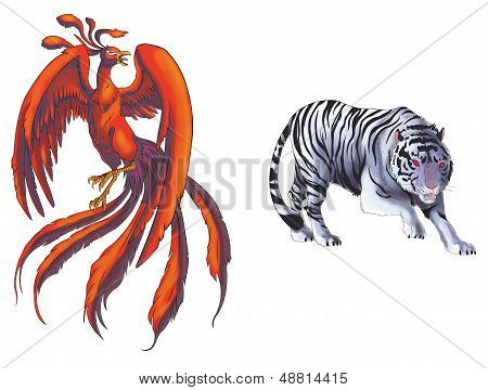 4 Chinese mythical creature gods set 1 - Tiger and Phoenix