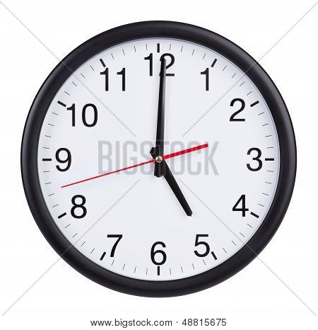 Five o'clock on the dial round clock poster