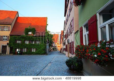 Cozy street of town of Dinkelsbuhl. Germany