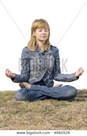 Young Cute Girl Having A Meditation. Relax. Yoga