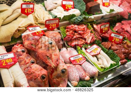Sheep offal in meat market