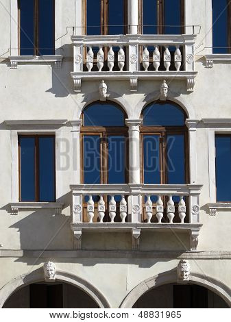 Facade of a beautiful Renaissance building in Treviso Italy. poster