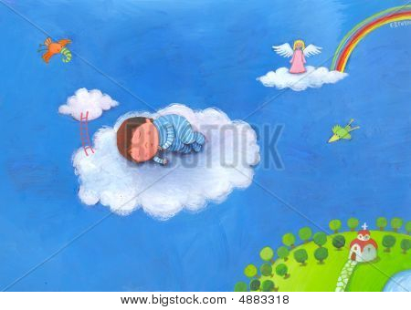 Baby Boy Sleeping In Clouds