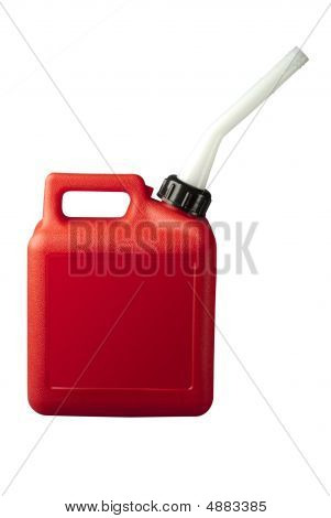 Red gasoline or gerry can on white with clipping path poster
