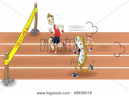 Man Racing With Time (vector)