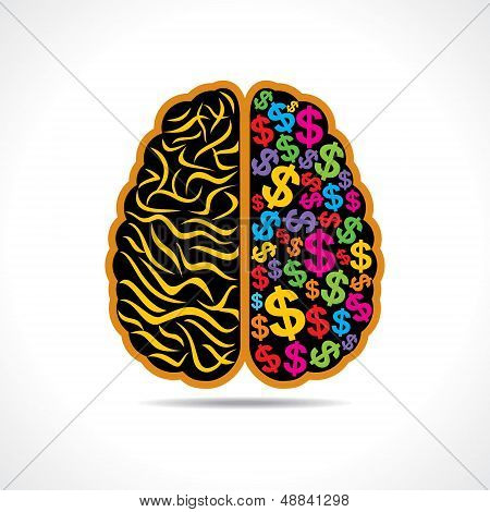 Conceptual idea-silhouette image of brain with dollar symbol