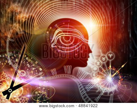 Composition of human feature lines and symbolic elements suitable as a backdrop for the projects on human mind consciousness imagination science and creativity poster