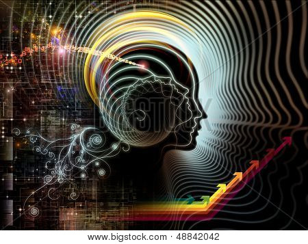Abstract arrangement of human feature lines and symbolic elements suitable as background for projects on human mind consciousness imagination science and creativity poster