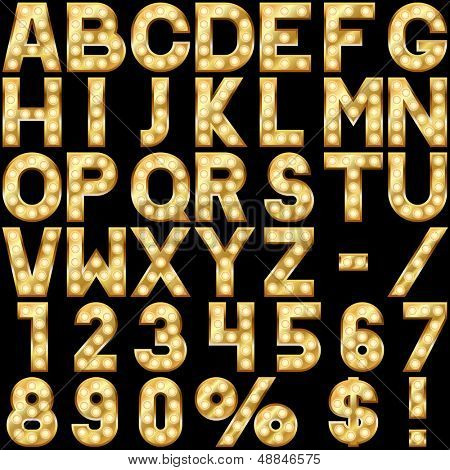 Golden alphabet with show lamps isolated on black background.