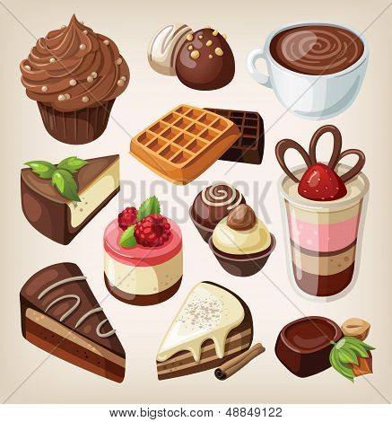 Set of chocolate sweet food