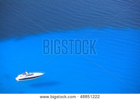 Lonely Yacht View From Above