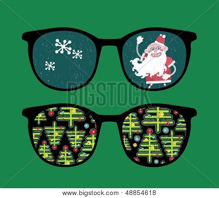 Retro sunglasses with new year reflection in it. Vector illustration of accessory - isolated eyeglasses. poster
