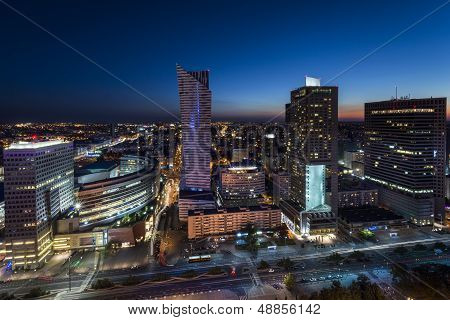 Night Panorama Of Warsaw City Center