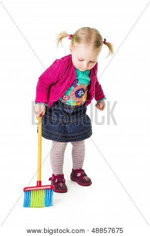 Infant Girl Child With A Broom