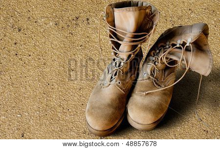 Us Army Boots On Sand