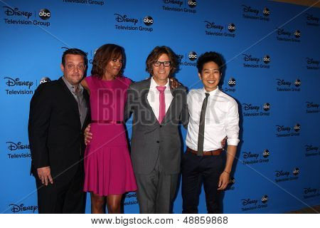 LOS ANGELES - AUG 4:  Lenny Venito, Toks Olagundoye, Simon Templeman, Tim Jo arrives at the ABC Summer 2013 TCA Party at the Beverly Hilton Hotel on August 4, 2013 in Beverly Hills, CA