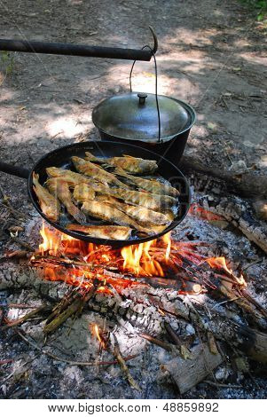 In the summer the stake is fried fish in a frying pan and some heated pot poster