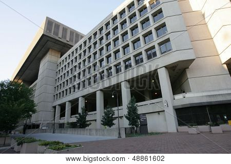 WASHINGTON, DC - JULY 29: An exterior view of the J. Edgar Hoover Building, FBI Headquarters, is shown on July 29, 2013 in Washington. The bureau was established in 1908.